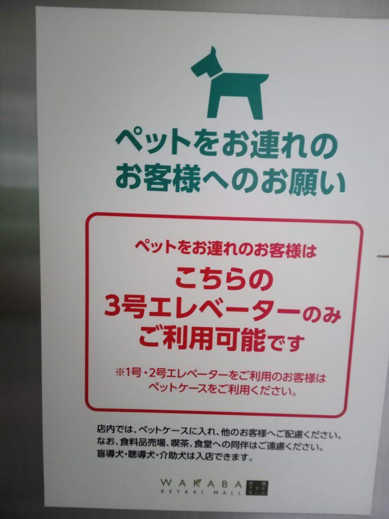 ペット可のエレベーターのお知らせ