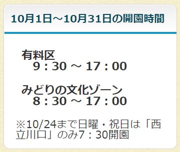 昭和記念公園の開園時間(2021年10月)